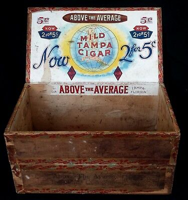 Antique Vintage Above The Average Mild Tampa Cigar Double High Wood Box
