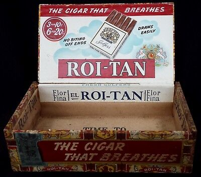 Antique Vintage El Roi-Tan Golfers Wood Cigar Box Factory 117 South Carolina