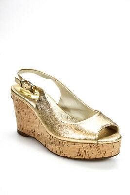 64a8c9b4c3c LILLY PULITZER GOLD Metallic Woven Peep Toe Wedges Size 9 - $34.99 ...