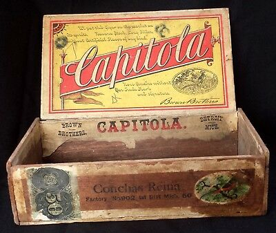 Antique Vintage 1883 Brown Brother Capitola Wood Cigar Box Detroit, MI