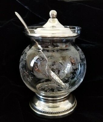 Antique Etched Floral Glass and Sterling Mustard Pot