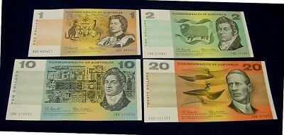 1966 Banknote set of four, higher grades with bold colours.