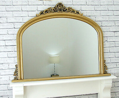 """Reading Large Gold Ornate Arched Overmantle Antique Style Wall Mirror 48 x 35.5"""""""