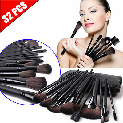32pcs Professional Cosmetic Soft Eyebrow Shadow Makeup Brush Set Kit +Pouch Case