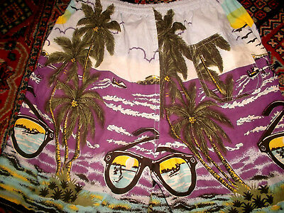vintage 80`s hawaii shorts beach pants oldschool festivaloutfit 80s surf Gr.M