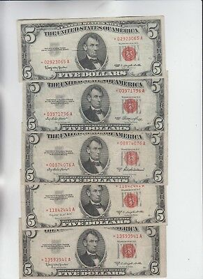 Legal Tender $5 Red Seal 1953's & 1963 STAR Complete set of 5 notes f-vf