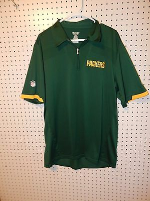 GREEN BAY PACKERS NFL Reebok Dry Fit Golf Polo Green Collared Shirt ... 354b3199b