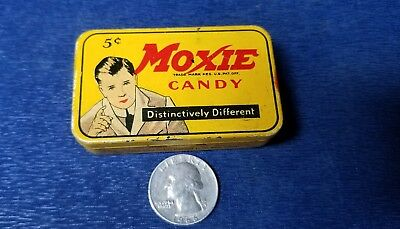 Orig 1920s MOXIE Soda 5 Cent Advertising CANDY TIN Rare Candy Tin Great Shape