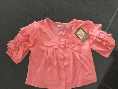 NWT Juicy Couture New & Gen. Peach Cotton 3/4 Sleeve Crop Cardigan Girls Age 8