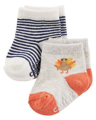 Carters Holiday Turkey 12-24 Months 2-pk Socks Baby Boy Girl Thanksgiving