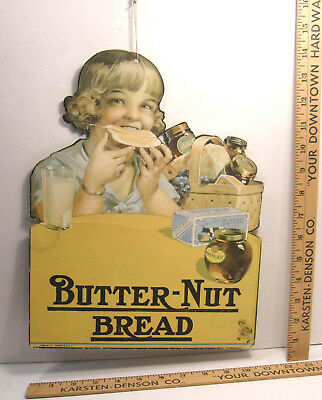 Vintage Diecut Advertising Grocery Store Sign Butter Nut Butternut Bread 1930's