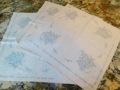LOT of 3 Vintage Pure LINEN Stamped for Embroidery Table Centerpieces Napkins