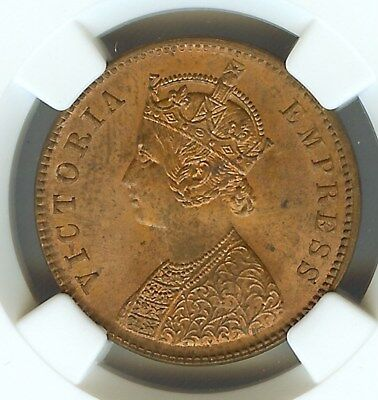 India 1889(C) 1/4 Anna  Ngc Ms64 Red Brown