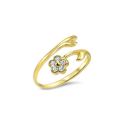 10KT Solid Yellow Gold Toe Ring Flower CZ Cubic Zirconia Jewelry Adjustable