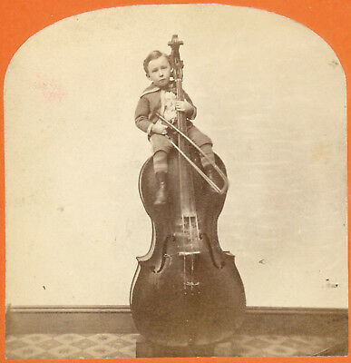 Young Lad George Quilby The Musician On His Bass Violin Stereoview