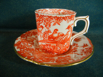 Royal Crown Derby Red Aves Pattern A74 Demitasse Cup and Saucer Set(s)