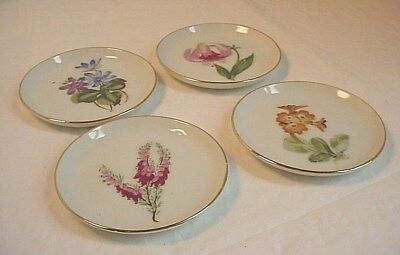 Floral Porcelain Butter Pat Plates 3 inch Lot of 4