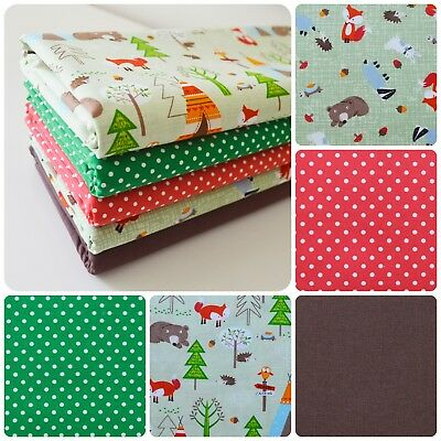 Forest Friends Fabric Fat Quarter Bundle 100% Cotton Sewing Craft Quilting Fox