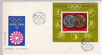 First day cover, Romania, S/S Scott #C191, Olympic medals, 1972