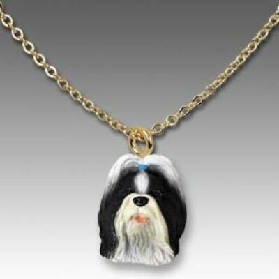 Dog on Chain SHIH TZU B/W Resin Dog Necklace Jewelry Pendant CLEARANCE