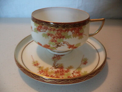 Antique Japanese Hand Painted Leaves Gold Gilt Kutani Tea Cup & Saucer Signed!