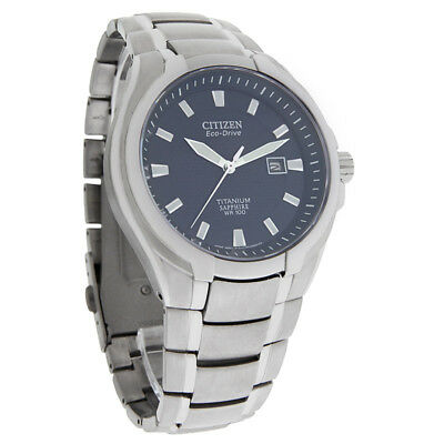 Citizen Eco-Drive Mens Blue Dial Sapphire Titanium Dress Watch BM7170-53L