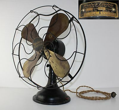 "WESTERN ELECTRIC 4 Brass 16"" Blade 3 Speed Fan Alternating Current WORKS Antique"