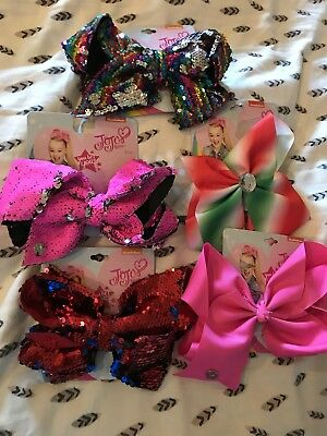 NWT Target JoJo Siwa Lot of 5 Large Hair Bows Sequin Signature Girls
