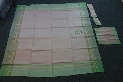 1930's Pink & Green Linen Tablecloth w/4 Napkins-48x48-Czechoslovakia- MWT-SALE