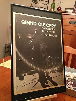 "Big 11X17 Framed ""johnny Cash At The Grand Ole Opry"" Lp Album Cd Promo Ad"