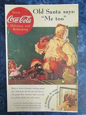 "Vintage Coca Cola 1936 Christmas  Ad Store Sign ""SANTA PLAYING W THE TRAIN"""