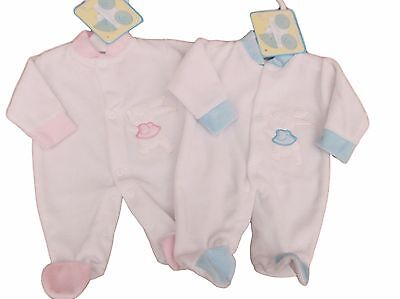 BNWT Tiny Premature Preemie Baby girls or boys bunny velour sleepsuit Clothes