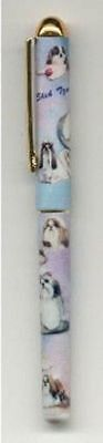 Writing Pen SHIH TZU Dog Breed Smooth Rollerball Black Ink Pen Refillable