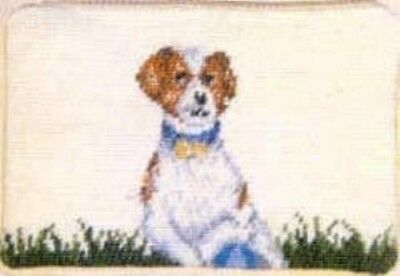 NP cosmetic JACK RUSSELL Dog Breed Needlepoint Cosmetic Bag Purse Zippered Pouch