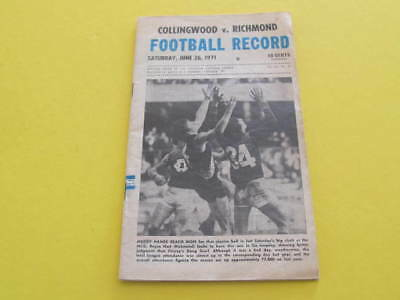 June 1971 Collingwood v Richmond Football Record