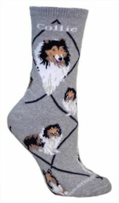 Adult Size Medium COLLIE Adult Socks/Grey Made in USA