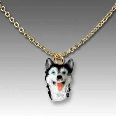 Dog on Chain SIBERIAN HUSKY B/W Resin Dog Head Necklace Jewelry Pendant