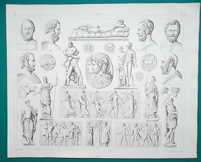 GREEK SCULPTURE Art Hercules Venus Mars Amazon Coins - 1844 Superb Print