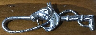 Whip and Horse Head Facing Left Sterling Silver Pin Stockpin