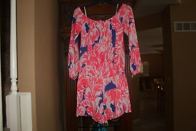 6c06bc14e77f Lilly Pulitzer TIKI PINK BEACH BLISS OFF THE SHOULDER LANA ROMPER Small S