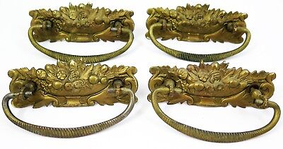 "Lot 4 Antique Figural Fruit Urn Stamped Brass Dresser Drawer Pulls Handles 3"" CC"