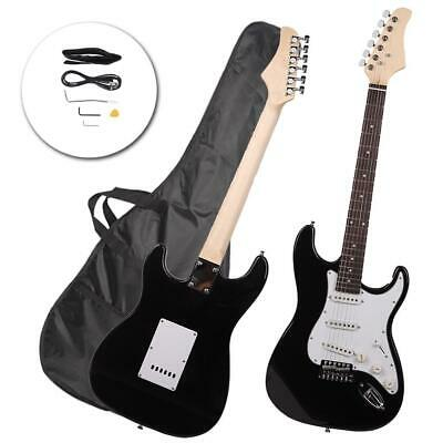 Rose Wood Fingerboard Electric Guitar Black +Gigbag +Cord+Strap+Accessories
