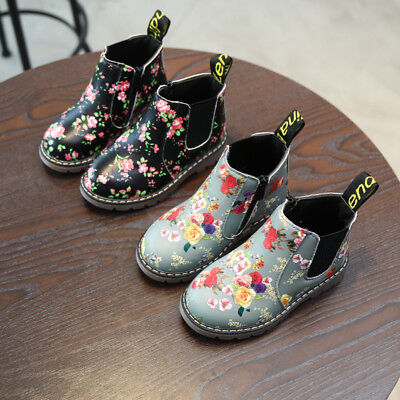New Children Kids Boy Girl Martin Boots Toddler Baby Ankle Boot Print Shoes Size