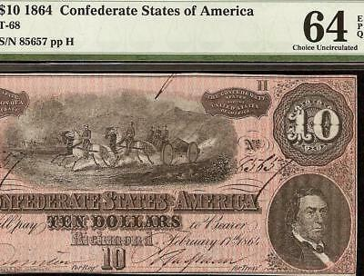 Unc 1864 $10 Dollar Confederate States Currency Civil War Note Money Pmg 64 Epq