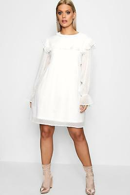 Boohoo Womens Plus Size Ruffle Dobby Spot Smock Dress