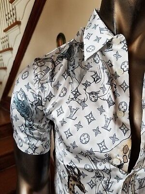 db3320076f6a LOUIS VUITTON Chapman Brothers SILK MONOGRAM SHIRT - Nwout Tag - Size S