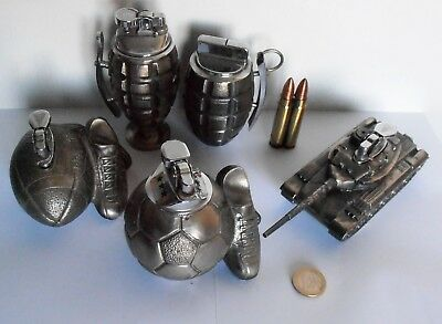 Lot 6 Briquet Table Lighter Grenade Grenada Tank Balle Bullet Foot Rugby Gaz