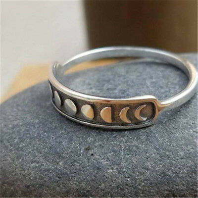 Vintage Handmade Silver Moon Phase Finger Ring Moon Band Jewelry Size 7-9
