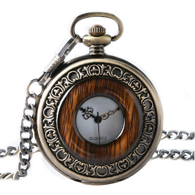 Bronze Retro Wood Case Men Women Analog Quartz Pocket Watch Necklace Chain Gift