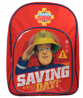Boys Fireman Sam Saving The Day Childrens Backpack With Pocket Back to School